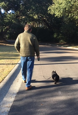 Man walking dog Feb 2019