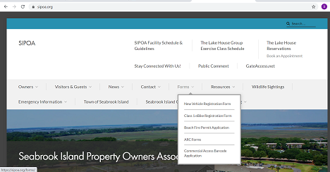 sipoa.org screenshot of forms tab - July 2020